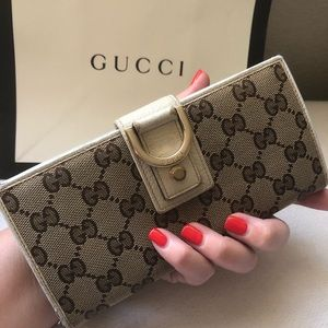 Gucci GG Monogram Canvas & Leather Long Wallet